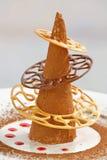 Creative chocolate dessert. On white plate stock photo
