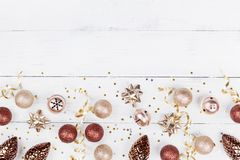 Creative christmas background of holiday decoration and confetti top view. Flat lay. stock images