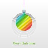 Creative Christmas Ball Greeting Card. Abstract Paper Cut Christmas Ball Background, Trendy Greeting Card or Invitation Design Template royalty free illustration
