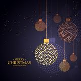 Creative christmas balls design made with small dots. Vector illustration Stock Image