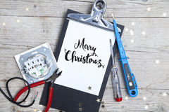 Creative Christmas Card for an electrican business stock photo