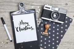 Creative Christmas Card with an old photo camera Royalty Free Stock Photography