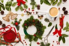 Creative diy hobby. Handmade craft wreath as christmas decoration Stock Photos