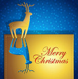 Creative Christmas greeting card. With deer - paper art - vector illustration Royalty Free Stock Photography