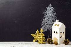 Creative Christmas still life with decorations and chalkboard Royalty Free Stock Photos