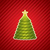 Creative Christmas tree. Red Creative Christmas tree vector stock illustration