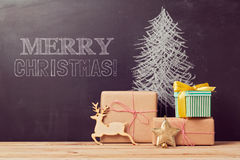 Creative Christmas tree background with gifts Stock Photos