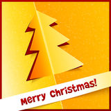 Creative Christmas tree from cuted out paper Stock Images