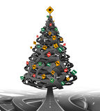 Creative Christmas Tree. Made from a group of tangled roads and highways with traffic signs as decoration ornaments  as a symbol for the stress of the holiday Stock Photography