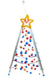 Creative Christmas tree - stepladder with hanging balls Stock Image