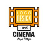 Creative cinema or movie logo template design. Emblem concept with old retro vintage orange filmstrip and text. Flat. Creative geometric cinema or movie logo Royalty Free Stock Image
