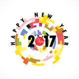 Creative circle abstract vector logo design template. Happy new year 2017 holiday background.2017 Happy New Year greeting card.Vector illustration Stock Photo