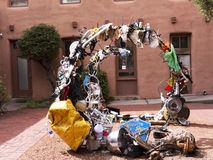 The Creative City of Santa Fe In New Mexico with its multitude of Galleries and Sculpture. Sculpture made of Junk in Santa Fe New Mexico USA Royalty Free Stock Photo
