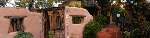 The Creative City of Santa Fe In New Mexico with its multitude of Galleries and Sculptures and adobe buildings Stock Images