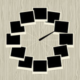 Creative clock design with photo frames Stock Photography