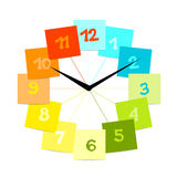 Creative clock design with stickers for your text. Vector Stock Image