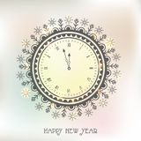Creative clock for Happy New Year celebration. Beautiful floral design decorated clock showing almost Twelve 'O' clock for Happy New Year celebration Stock Photos