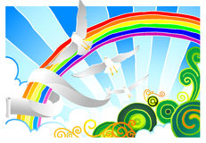 Creative clouds. Beautiful sky with birds and rainbow Royalty Free Stock Photos