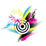 Creative CMYK design. With target and floral royalty free illustration