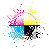 Creative CMYK design. Creative CMYK pixelated design over white stock illustration