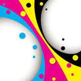 Creative CMYK design. Creative CMYK abstract design with round shapes stock illustration