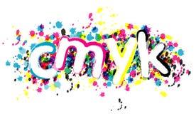 Creative cmyk symbol. CMYK depicted on multicolored brush impresion vector illustration