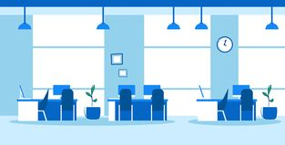 Creative co-working center empty no people open space modern office interior sketch doodle horizontal. Vector illustration stock illustration