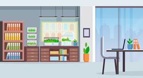 Creative co-working center workplace desk modern office interior with electronic terrarium glass container plants. Growing concept flat horizontal vector royalty free illustration
