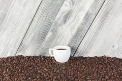 Creative coffee cup wallpaper. Design, addiction, energy and lifestyle concept stock photo