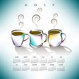 2017 creative coffee shop calendar. For print or web Stock Photos