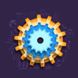 Creative cogwheel with infographic elements. Stock Images