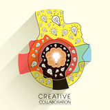 Creative collaboration concept in flat design. Creative collaboration concept with head and bulb icons in flat design Royalty Free Stock Photography