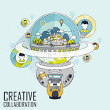 Creative collaboration. Through internet concept in line style stock illustration