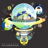 Creative collaboration through internet in flat design. Creative collaboration through internet concept in flat design stock illustration