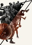 Creative collage of a basketball players in action royalty free stock photography