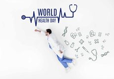 Creative collage of doctor flying like super hero with world health day inscription and medical icons Stock Image