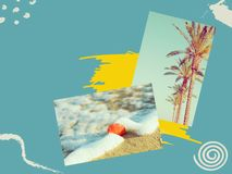 Creative collage with hand drawn doodle design elements. Photos of palm trees sea shell washed by ocean waves on beach on duotone. Turquoise yellow background royalty free stock photos