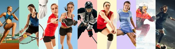 Creative collage made with different kinds of sport. Creative collage made of photos of 9 models. Tennis, pole vault, badminton, hockey, volleyball, football stock image