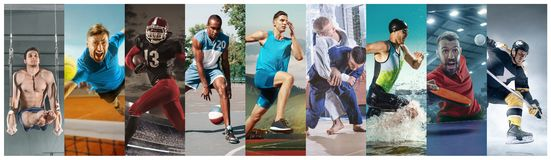 Creative collage made with different kinds of sport. Creative collage made of photos of 10 models. Tennis, running, badminton, triathlon, basketball, hockey stock photography