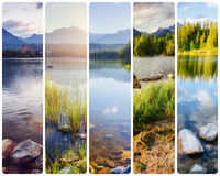 Creative collage majestic mountains and lakes in the High Tatras Stock Photos