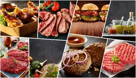 Creative collage of a variety of barbecue foods stock photography