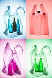 Creative collage of various colorful plastic bags with bottles stock images