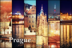 Creative collage view of the Prague architectural monuments with Royalty Free Stock Images