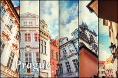 Creative collage view of the Prague architectural monuments with Royalty Free Stock Photos