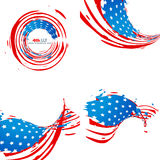 Creative collection of american independence day background. With stylish wave pattern Royalty Free Stock Photos