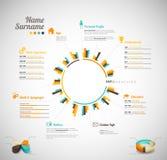 Creative, color rich CV / resume template. Royalty Free Stock Photos