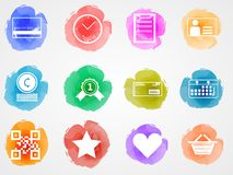 Creative colored icons for internet retail business. Set of colored watercolor stains icons with white contour elements for internet retail business on gray Royalty Free Stock Photography
