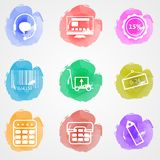 Creative colored icons for trade online. Set of colored watercolor stains icons with white contour elements for trade online on gray background Stock Photography