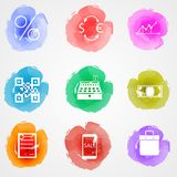 Creative colored icons for web finance market. Set of colored watercolor stains icons with white contour elements for web finance market on gray background Stock Photo
