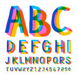 Creative colorful alphabet and numbers. Vector illustration Royalty Free Stock Photography